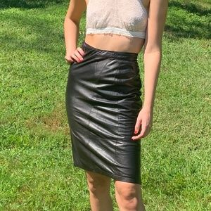 Vintage High Waist Black Leather Pencil Skirt